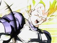 Vegeta, ahora Super Saiya-jin, lanza su Big Bang contra A-19