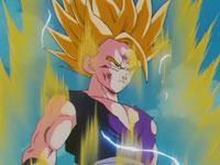 Son Gohan transformado en Super Saiya-jin 2, tras la destrucción de A-16