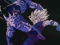 Llevado por la cólera, Son Gohan destruye con facilidad a los Petit Cells y derrota a Cell