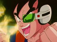 Ginew con el cuerpo de Gokuh, intentando en vano demostrar a todos su nuevo poder