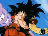 El Makanko Sappo de Piccolo atraviesa a Raditz y a Gokuh que lo sujetaba
