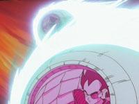 Los saiya-jin aproximándose a La Tierra en sus cápsulas espaciales